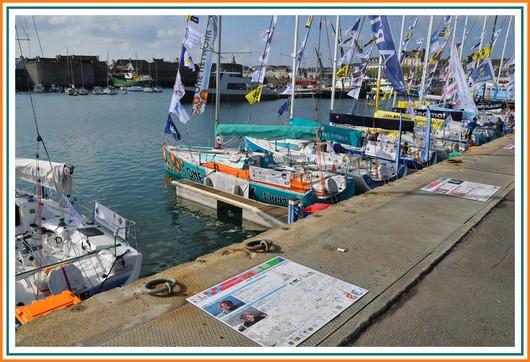 La flotte de la 11ème édition de la Transat AG2R LA MONDIALE s'est ancrée sur les quais de Concarneau qu'elle quittera le samedi 21 avril prochain, date du départ vers Saint-Barthélemy. Cette année, ils sont 16 duos prétendant à la victoire au départ de la Ville Bleue. Photo prise le dimanche 15 avril 2012.