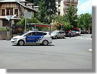 La police veille à Puigcerda (espagne, juin 2007).