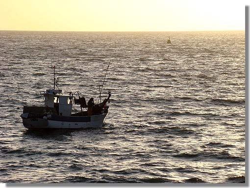 Pêcheur sur une mer dorée. Photo prise le 22 Octobre 2009. - © http://borddemer.over-blog.fr