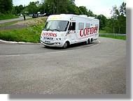 Le camping car de l'équipe française Cofidis.
