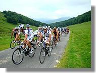 Le dernier peloton emmené par les coureurs de la Française des jeux.