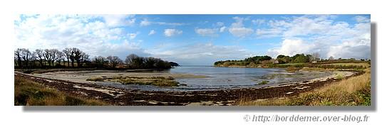 La plage de Ster Greich, en panorama, à Trégunc, le 05 février 2009. Utilisation de 5 photos. - © http://borddemer.over-blog.fr