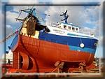 Le côtier Liberty-S en réparation dans le port de Concarneau