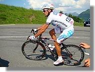 Stéfano Garzelli (Acqua & Sapone) dans l'ascension de Superbagnères sur la Route du Sud 2008
