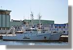 Les deux navires de l'Ifremer de Brest à quai : le Thalia (BR 385975) et le Gwendrez (BR 278970). Photo prise le 25 juillet 2010.