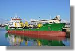 Le sablier Michel DSR à quai. Il a quitté le port le lendemain, lundi 9 août, pour sa livraison à la CETRA de St Nazaire. Photo prise le 8 août 2010.