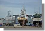 Le Slipway bien occupé avec la vedette des douanes Sirocco de Nice, le Thallia (Ifremer) et le Desperado de Concarneau. Photo prise le 30 septembre 2010.