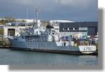 Le Lynx, bateau d'instruction de la marine nationale, à quai dans le port pour révision et carénage. Photo prise le 28 février 2011.
