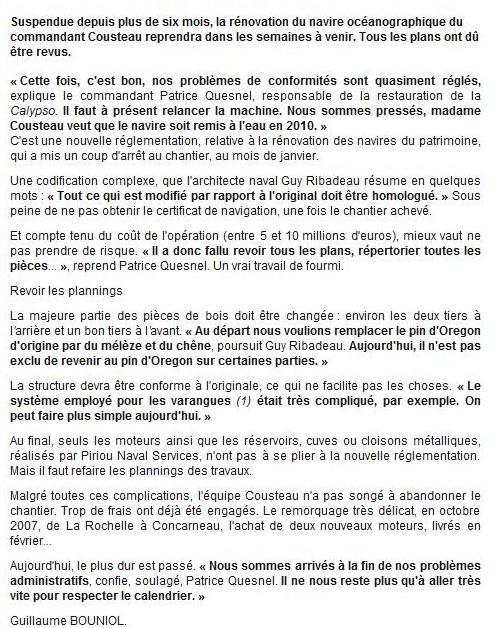 Ouest France du jeudi 20 août 2009.