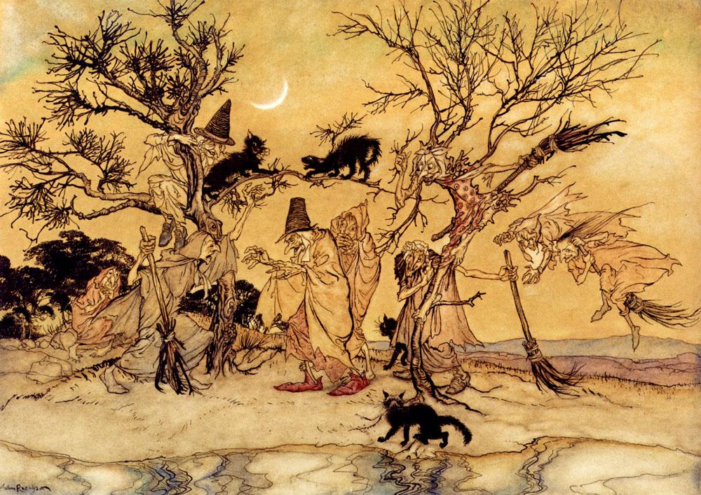 Le sabbat (sorcières et chats noirs) Arthure Rackham