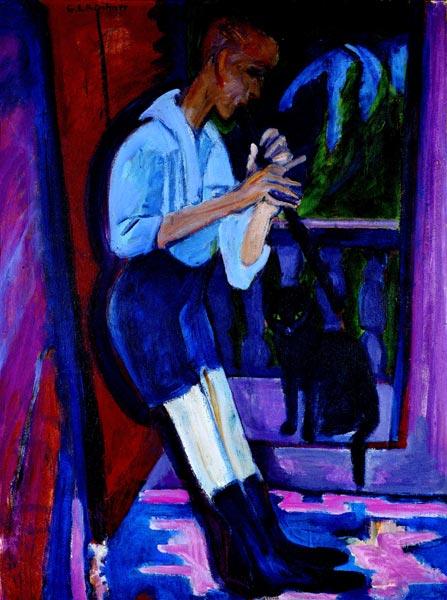 Ernst Ludwig Kirchner- Le joueur de flûte 1922-23
