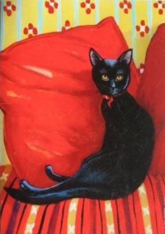 Chat noir sur coussin peint par Isy Ochoa