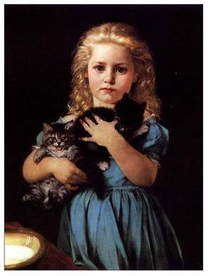 Petite fille au chat noir