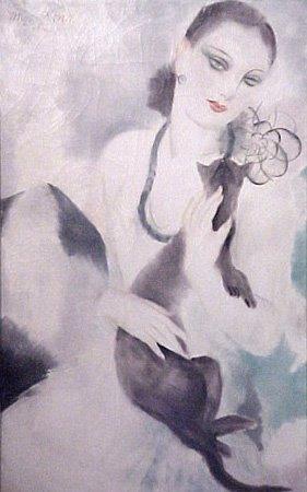 Micao Kono - Femme au chat 1923