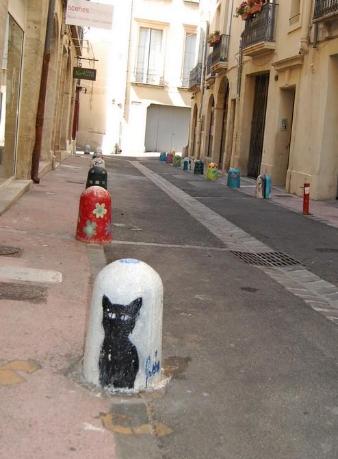 graff chat noir_Montpellier