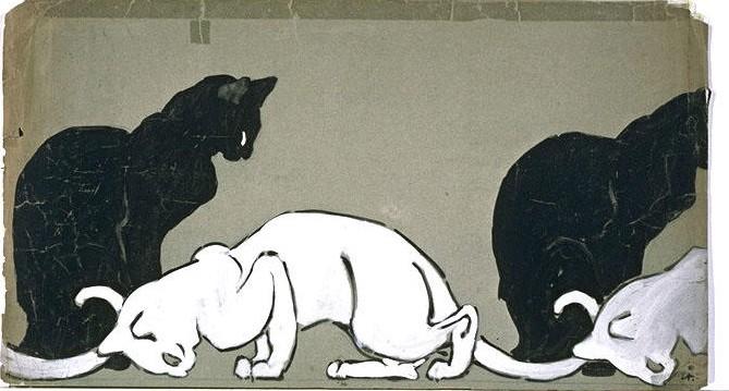 Frise chat noir chat blanc Steilen
