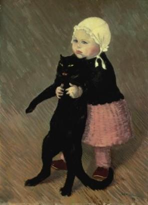 petite fille et chat noir