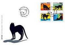 enveloppe chat noir+timbre Suède