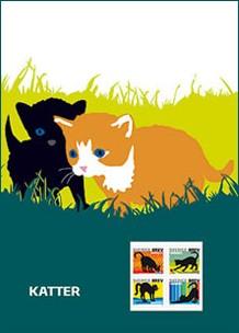 Plaquette timbres chat noir Suède