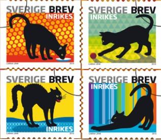 Timbres chat noir-Suède
