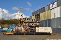 Une pensée pour le chantier de rénovation de la Calypso. Et oui la Calypso est toujours à Concarneau et à l'abandon... Photo prise le dimanche 3 avril 2011.