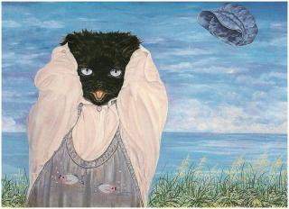 Christel Le vaillant-artiste peintre- chat noir