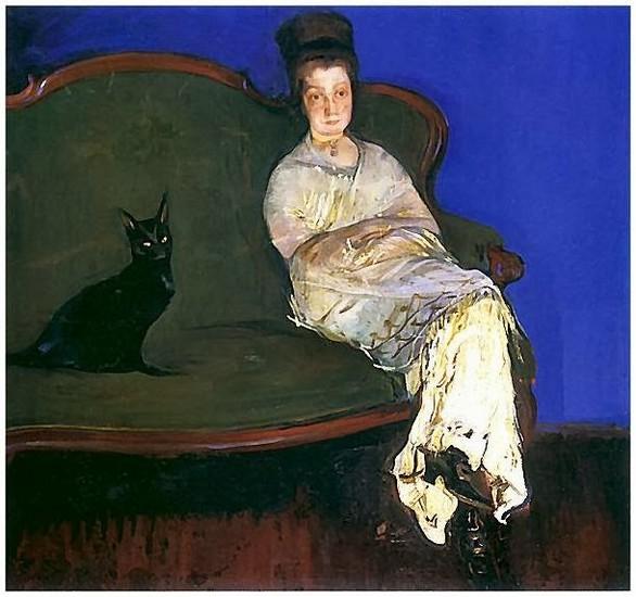 Konrad Krzyzanowski 1912 - L'épouse du peintre avec un chat